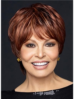Human Hair Brown Short Capless Straight Wigs 8 Inch
