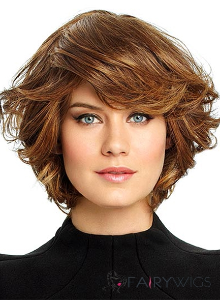 Human Hair Brown Short Wavy Wigs 8 Inch Capless