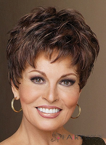 100% Human Hair Brown Short Full Lace Wavy Wigs 8 Inch