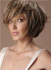 Human Hair Brown Short Wigs