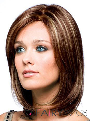 100% Human Hair Brown Short Wigs 12 Inch Full Lace Wavy