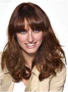100% Human Hair Full Lace Brown Wavy Medium Wigs 16 Inch