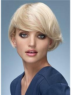 Human Hair Capless Wavy Blonde Short Wigs 8 Inch