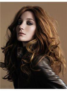 100% Human Hair Full Lace Wavy Brown Medium Wigs 18 Inch