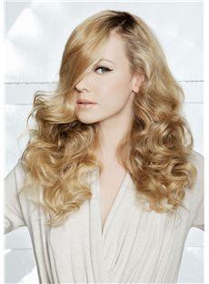 100% Human Hair Full Lace Wavy Blonde Medium Wigs 18 Inch