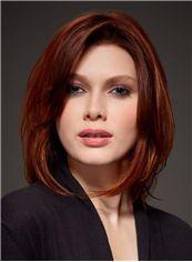 Virgin Brazilian Hair Red Full Lace Wavy Short Wigs 12 Inch