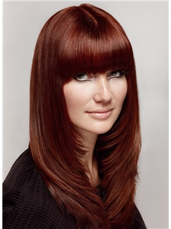 100% Human Hair Red Medium Wigs 18 Inch Capless Straight