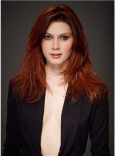 100% Human Hair Red Medium Wigs 16 Inch Full Lace Wavy