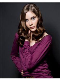 2015 Cool Full Lace Medium Wavy Brown Top Real Human Hair Wig