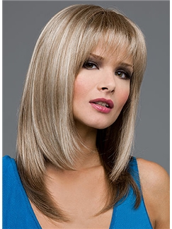 2015 Cool Medium Straight Gray 16 Inch Remy Human Hair Wigs