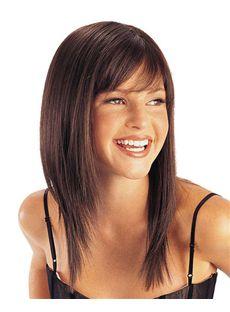 Affordable Capless Medium Straight Brown Real Human Hair Wigs
