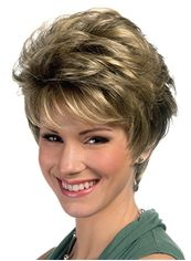 Amazing Short Wavy Gray 8 Inch Remy Human Hair Wigs