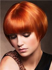 Attractive Short Straight Red 8 Inch Remy Human Hair Wigs