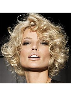 Blonde 100% Human Hair Short Wigs 8 Inch Full Lace Wavy