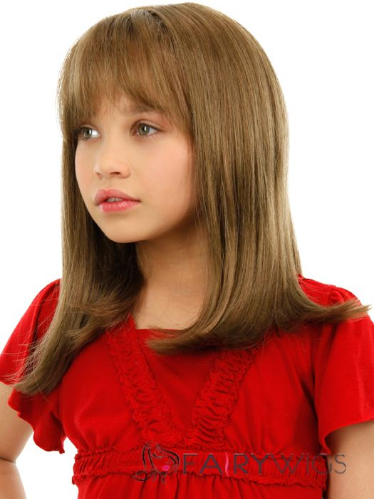 Cheap Colored Medium Gray Indian Remy Hair Kids Wigs 16