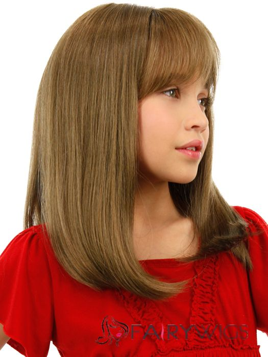 cheap colored medium gray indian remy hair kids wigs 16 inch - Colored Wig
