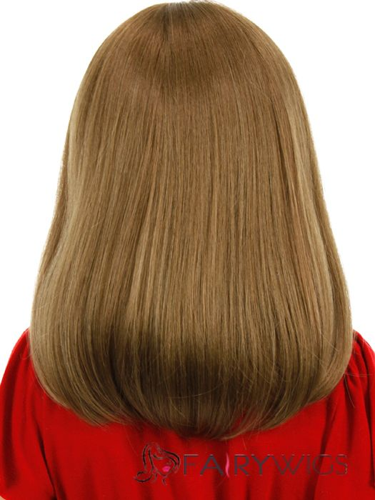 Colored Medium Gray Indian Remy Hair Kids Wigs 16 Inch