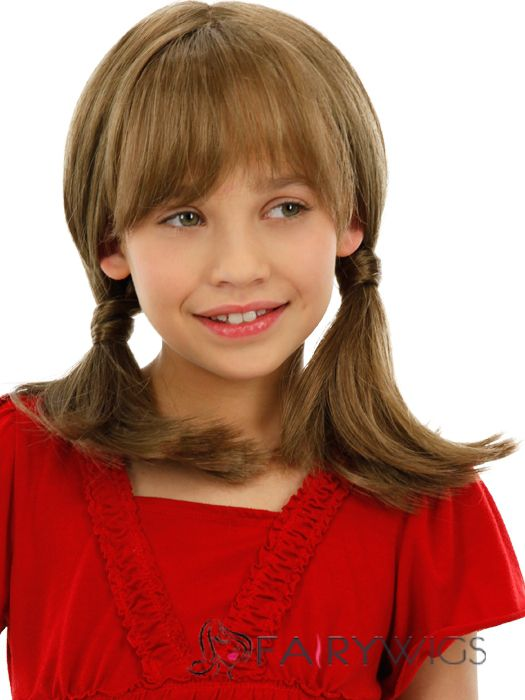 Cheap Colored Medium Gray Indian Remy Hair Kids Wigs 16 Inch