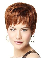 Cheap Colored Short Straight Brown 8 Inch Remy Human Hair Wigs