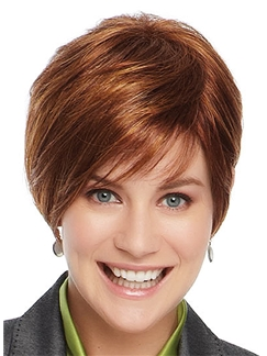 Cheap Short Straight Red 8 Inch Remy Human Hair Wigs
