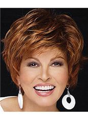 Chic Full Lace Short Wavy Brown Top Quality Human Hair Wig