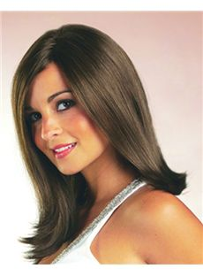 Concise Full Lace Short Straight Gray Remy Hair Wig