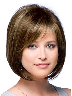 Concise Capless Short Straight Brown Huamn Hair Wig