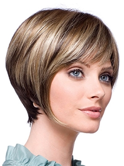 Concise Short Straight Gray 10 Inch Indian Remy Hair Wigs