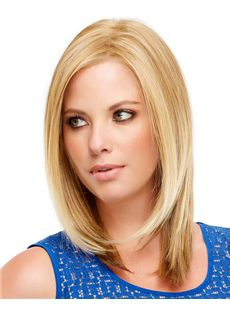 Custom Super Charming Full Lace Medium Straight Blonde Remy Hair Wig