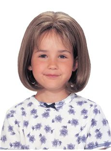 Custom Super Charming Short Brown 100% Indian Remy Hair Kids Wigs 12