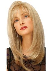 Delicate Medium Wavy Blonde 16 Inch Human Hair Wigs