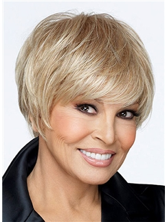Discount Short Straight Blonde 8 Inch Human Hair Wigs