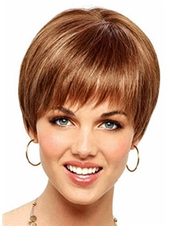 Discount Short Straight Brown 8 Inch Human Hair Wigs