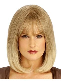Dynamic Feeling from Medium Wavy Blonde 14 Inch Remy Human Hair Wigs
