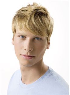 Dynamic Feeling from Short Blonde 100% Indian Remy Hair Mens Wigs