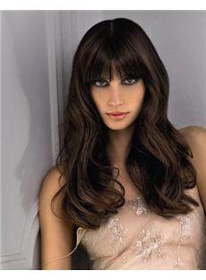 European Style Long Wavy Brown 20 Inch Human Hair Wigs
