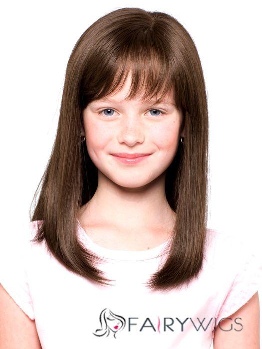 European Style Medium Brown 100 Indian Remy Hair Kids Wigs 16 Inch