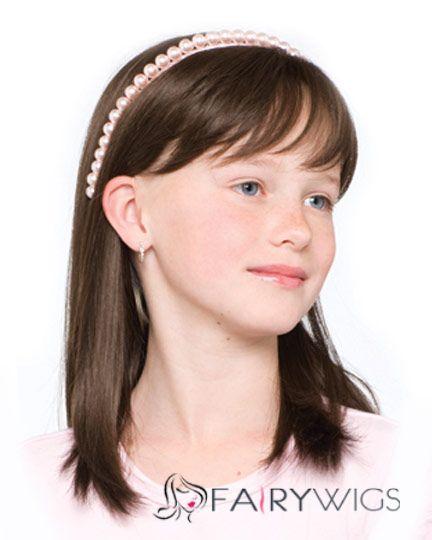 European Style Medium Brown 100% Indian Remy Hair Kids Wigs 16 Inch