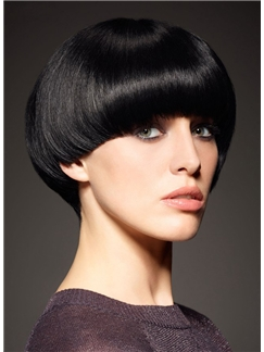 European Style Short Straight Black 8 Inch Remy Human Hair Wigs