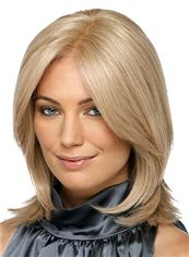 Exquisite Full Lace Medium Wavy Blonde Human Hair Wig