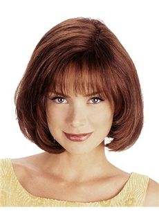 Fancy Short Wavy Brown 12 Inch Human Hair Wigs
