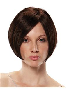 Fantastic Full Lace Short Straight Brown Remy Hair Wigs