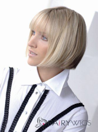 Fantastic Short Straight Blonde 12 Inch Human Hair Wigs