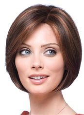 Glamorous Lace Front Short Straight Brown Real Hair Wig