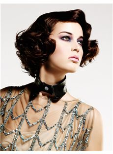Gorgeous Full Lace Short Wavy Black Top Remy Hair Wig