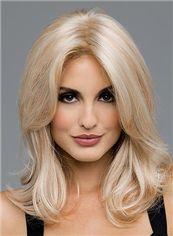 Graceful Full Lace Medium Wavy Blonde Hair Wig