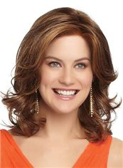Graceful Full Lace Medium Wavy Brown Remy Hair Wig