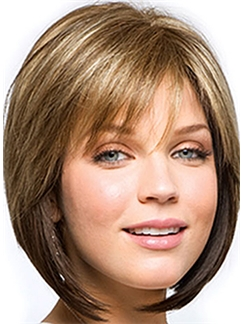 Graceful Short Straight Blonde 12 Inch Real Hair Wigs