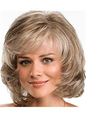 Graceful Short Wavy Gray 12 Inch Human Hair Wigs