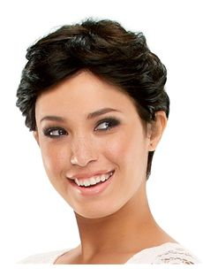 Gracefull Full Lace Short Wavy Black Remy Hair Wig